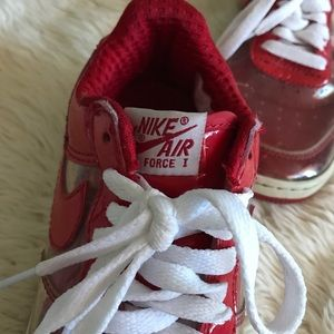 Red & Clear Nike Air Force 1s